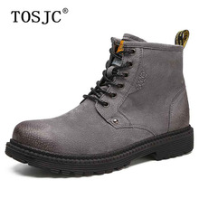 TOSJC Brand Spring Mens Ankle Boots Vintage Lace-up Cowboy Boots Fashion Cow Suede Male Riding Boot Outdoor Working Snow Boots leopard printed suede lace up snow boots