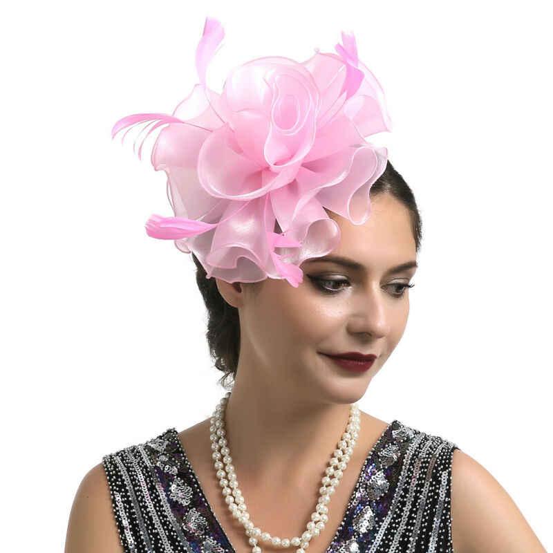 אופנה נוצת רשת Fascinator כובע שיער קליפ נשים קוקטייל מסיבת חתונת כלה כובע Fascinator גבירותיי שמלת שיער סרט
