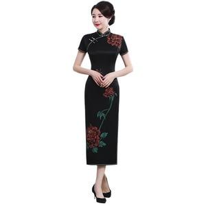 Image 5 - 2019 gerçek stil boyama ağır ipek Cheongsam uzun kısa kollu fabrika doğrudan satış büyük boy kadın yüksek son zarif