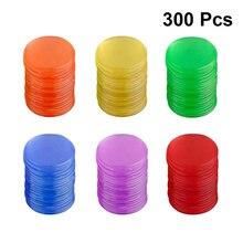 300 pçs fichas de plástico pro contagem bingo chips marcadores para cartões de jogo bingo acessórios do jogo (azul + vermelho + amarelo verde + roxo