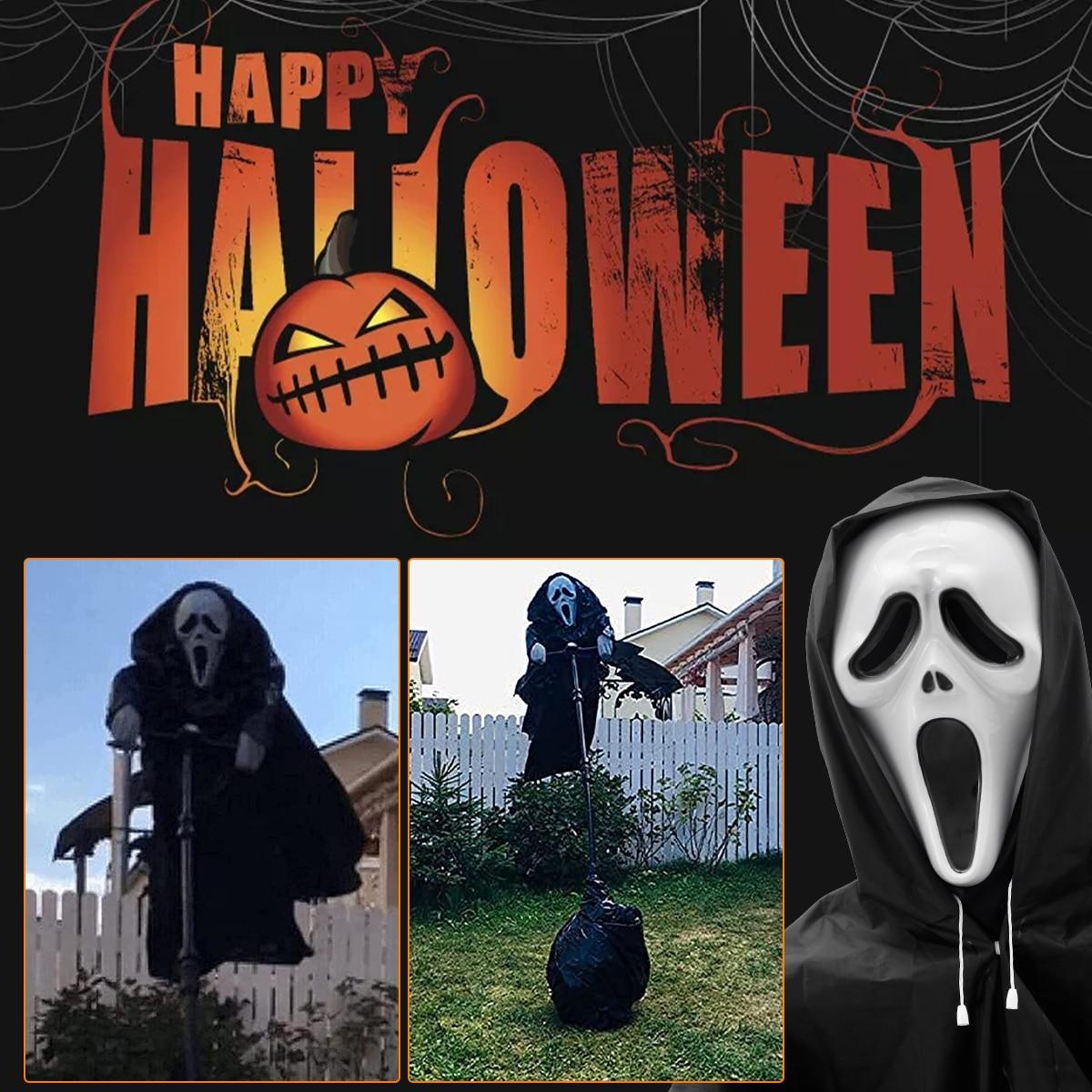 Halloween Decor Garden Ghostface Scarecrow Outside Hanging Scary Scream Scarecrow Decorations Ghost Bird Repeller Creative