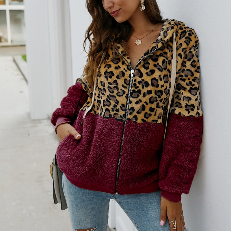 Jaqueta estampada de leopardo, casaco feminino tamanho