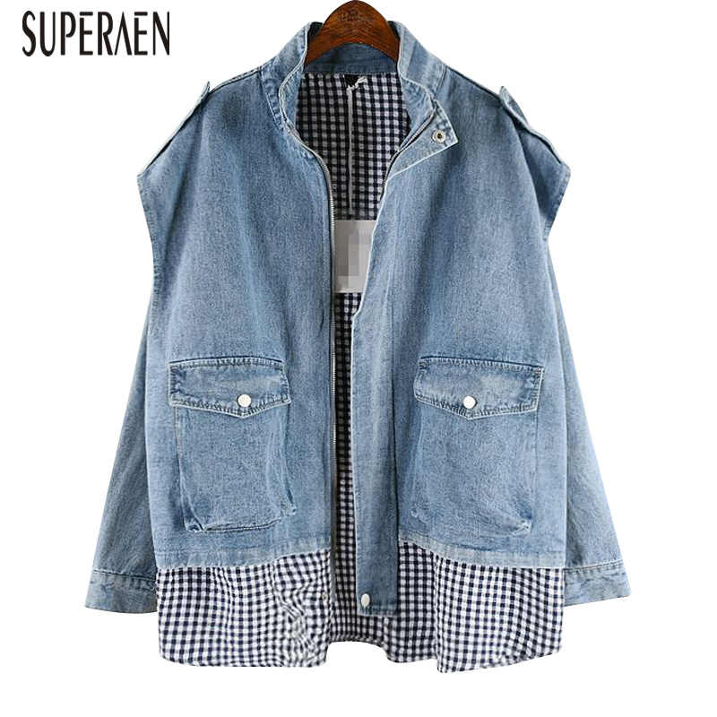 SuperAen Casual Korean Style Denim Jacket Female 2019 New Spring and Autumn Plaid Stitching Ladies Jackets Fake Two-piece Tops
