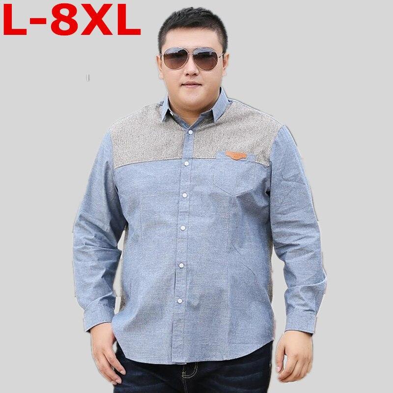 Big  Size  8XL 7XL 6XL 5XL 4XL Casual Shirts Men Cotton  Spring New Long Sleeve Shirt Male Slim Fit Plus Size High Quality