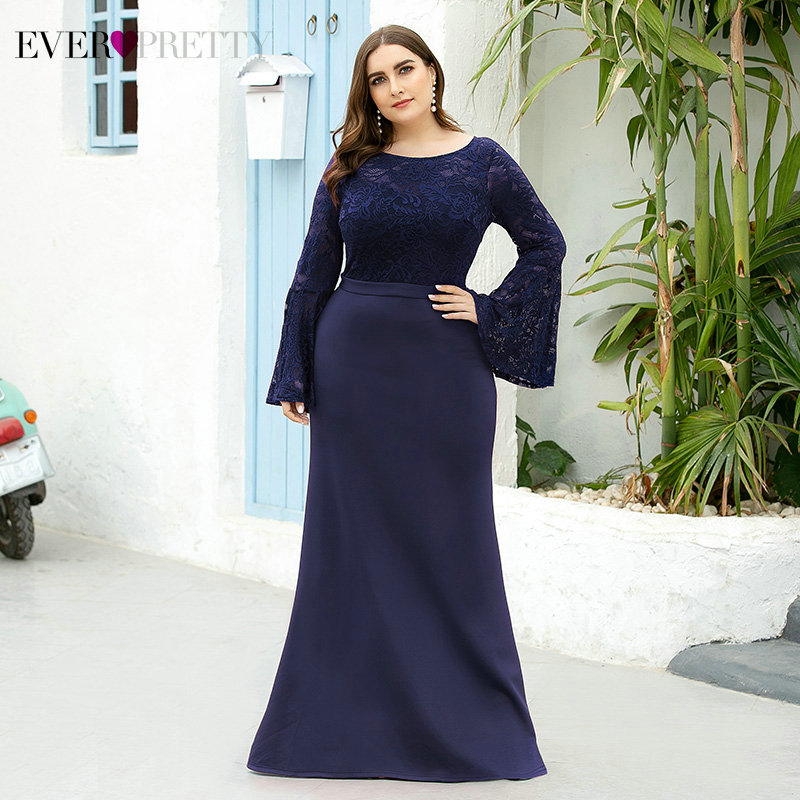 Plus Size Floral Lace Evening Dresses Long Ever Pretty Full Flare Sleeve O-Neck Draped Elegant Mermaid Party Gowns Abendkleider