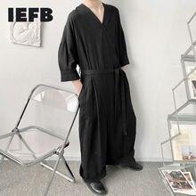 IEFB 2021 New Men's Niche Design Overalls Spring Summer V-neck Loose Bandage Waist Half Sleeve Black Big Size Jumpsuit 9Y6392