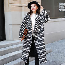 Новое Стильное Ретро свободное корейское шерстяное пальто средней