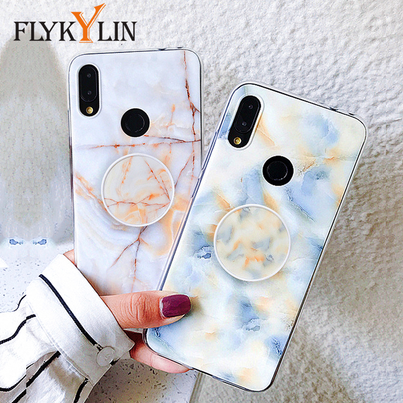 FLYKYLIN Marble <font><b>Case</b></font> For <font><b>Samsung</b></font> <font><b>Galaxy</b></font> A7 2018 A6 Plus A9 Back Cover on M10 A10 A20 <font><b>A30</b></font> A50 A70 TPU Silicone Coque Holder Stand image