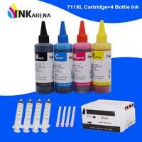 INKARENA 711 XL 프린터 잉크 카트리지 + 400ml 잉크 HP 711XL Designjet T120 24 T120 610 T520 24 T520 36 T520 610 T520 914
