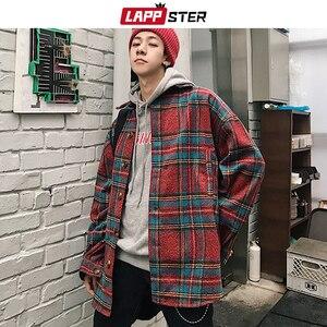 Image 3 - LAPPSTER Men Streetwear Plaid Wool Coats 2020 Mens Harajuku Vintage Korean Style Jackets Coats Male Hip Hop Jackets Windbreaker