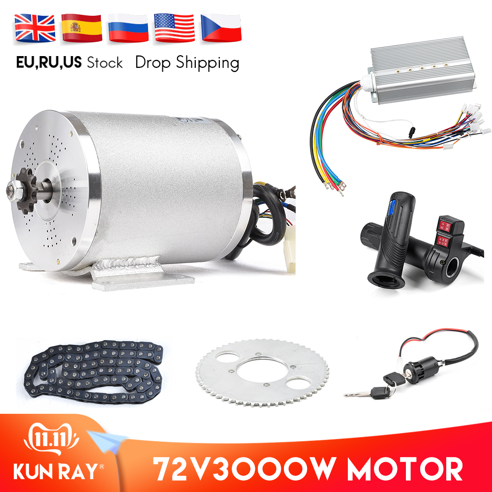 1Set Electric Motor 72V 3000W, Brushless Motor Controller 48V - 72V 50A, Reverse Twist Throttle, Power Ignition Lock Scooter Kit