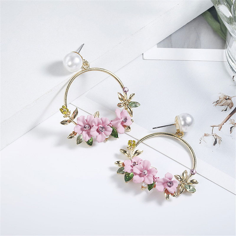 <font><b>Trendy</b></font> <font><b>Cute</b></font> <font><b>Pink</b></font> <font><b>Flower</b></font> <font><b>Earrings</b></font> <font><b>For</b></font> <font><b>Women</b></font> Girls Jewelry Female Rhinestone Gold Metal Round Circle Drop <font><b>Earrings</b></font> Gifts Brincos image