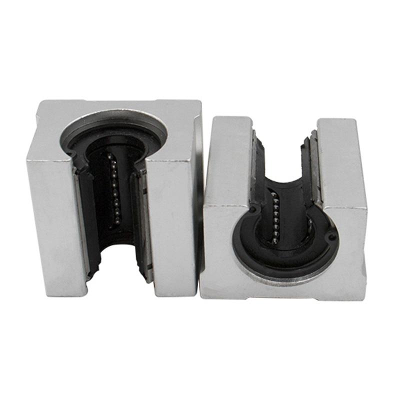 2 pièces SBR16 16mm rail linéaire n'importe quelle longueur support rond rail de guidage + 4 pièces SBR16UU bloc coulissant pour CNC - 4