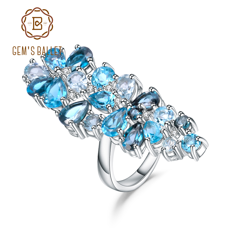 Gem's Ballet Brand Fashion Natural London Blue Topaz Gemstone Rings Genuine 925 Sterling Silver Ring For Women Fine Jewelry