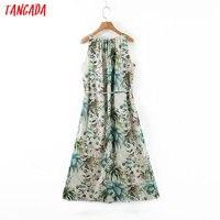 Tangada fashion women leaf print halter sundress with slash 2020 new arrival Ladies midi Dress Vestidos QB148 6