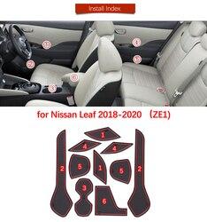 Mata do schowków na drzwiach dla Nissan Leaf 2018 2019 2020 ZE1 akcesoria do slipmata maty do schowków Coaster wnętrza samochodów podkładka żelowa mata gumowa na