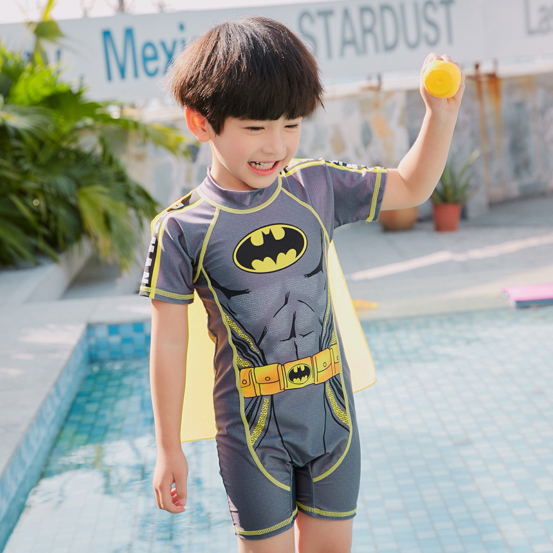 2019 Item Swimwear Cartoon Korean-style New Style Batman Mantle One-piece CHILDREN'S Swimwear