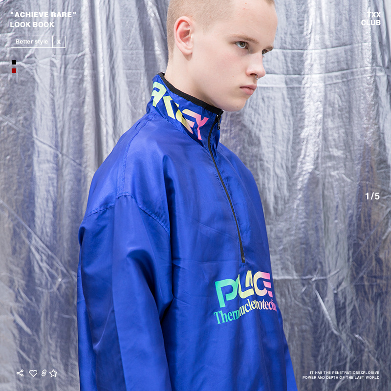 Palace Life 18 Popular Brand Autumn And Winter New Style Men'S Wear Reflective Printed Letter Men's Cycling Windproof Trench Coa