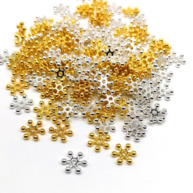 50 шт. Золотые Серебряные Снежинки разделители бусины сплав бусины ювелирные изделия DIY Аксессуары