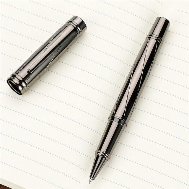 Luxury Silver plating Ballpoint pen Metal Ball Pens For school Vulpen Stationery plume Penna stilografica Vulpen boligrafo 3732 4