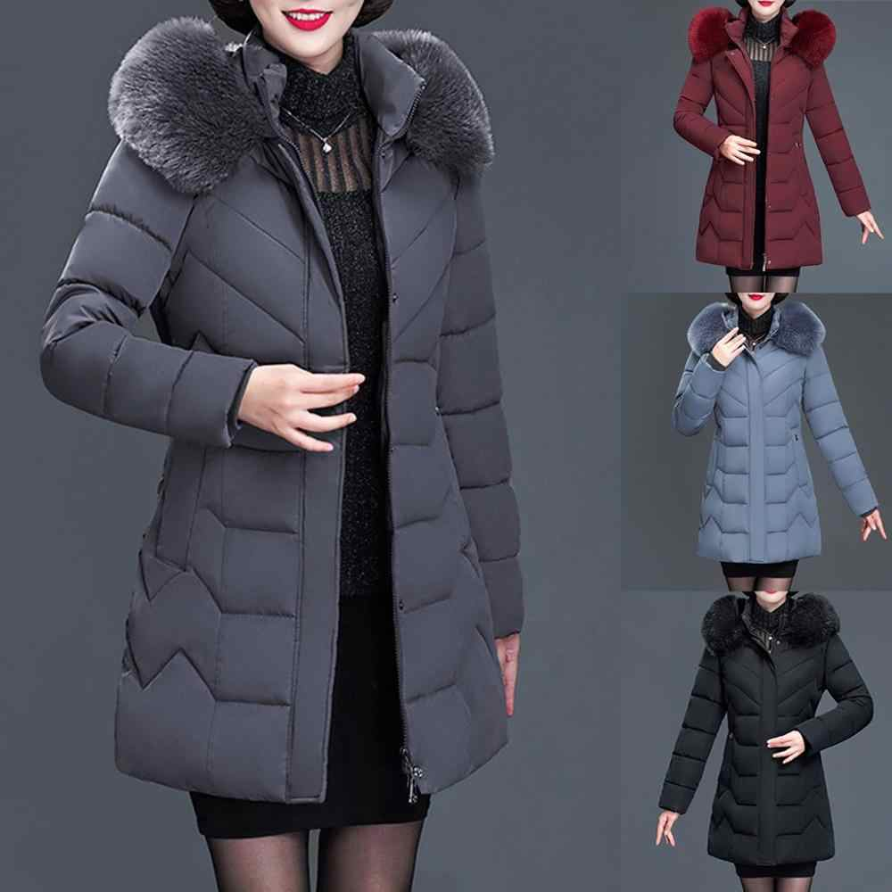 2019 New Plus Size 6XL Winter Jacket Women Hooded Fur Collar X-long Thicken Middle-aged Womens Winter Coats Cotton Long P