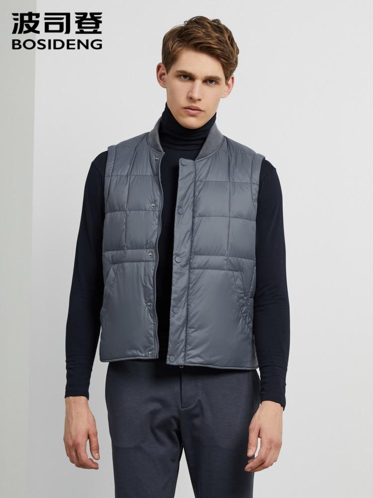 BOSIDENG 2019 Men Down Vest Solid Color Stand Collor 90% Duck Down Warm Inner Vest B90130003
