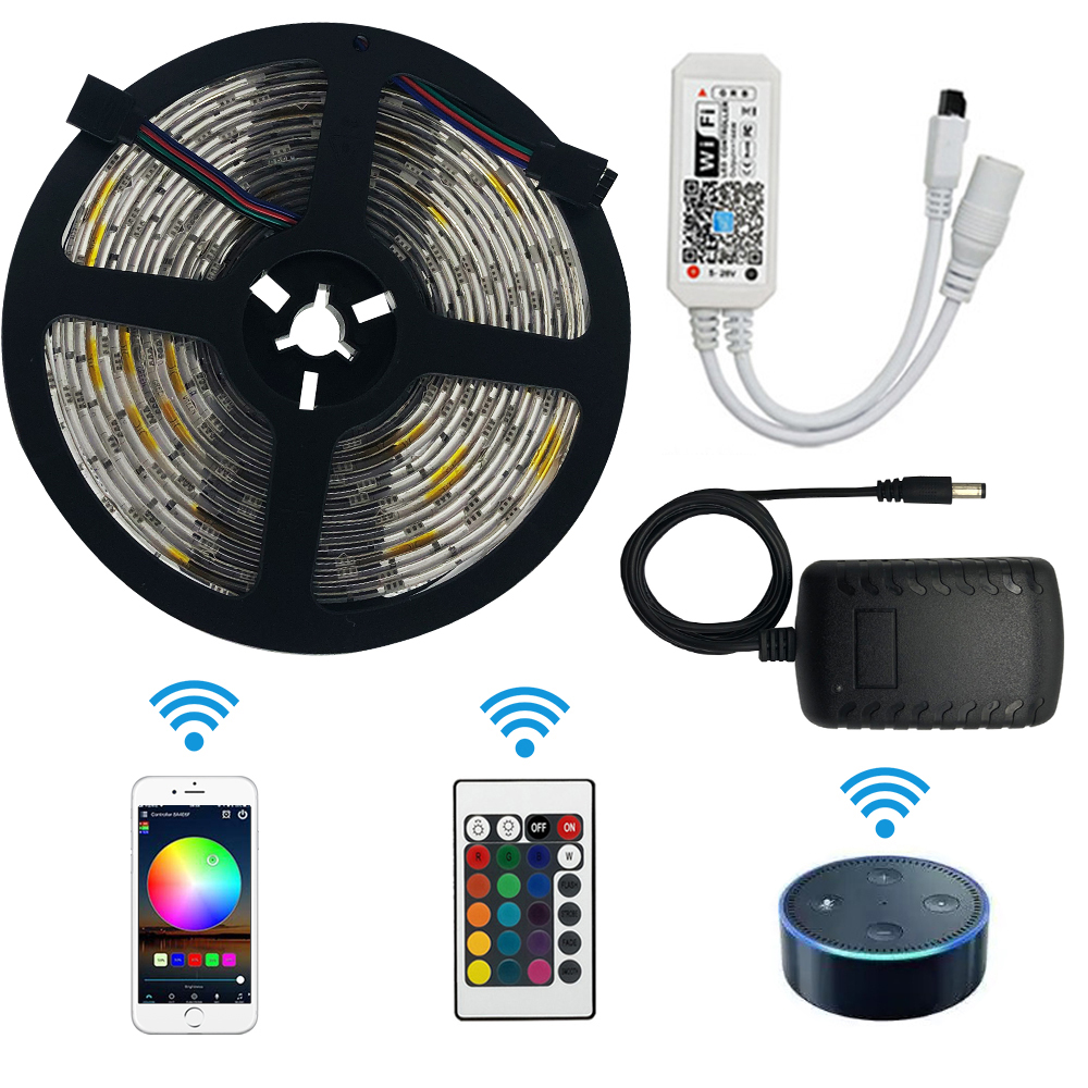 WiFi LED Strip Lights, Wireless LED Light Strips 16.4ft/5M SMD 5050 Smart APP Phone Controlled LED RGB Tape Lights Waterproof R