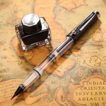 Clear Transparent Brush Calligraphy  Pen Piston Painting Ink Pen Drawing Pen Black Cap Stationery Office school