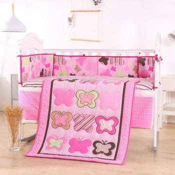 7PCS embroidery baby crib bedding set Castle flower newborn bed Set ropa de cuna(4bumper+duvet+bed cover+bed skirt)