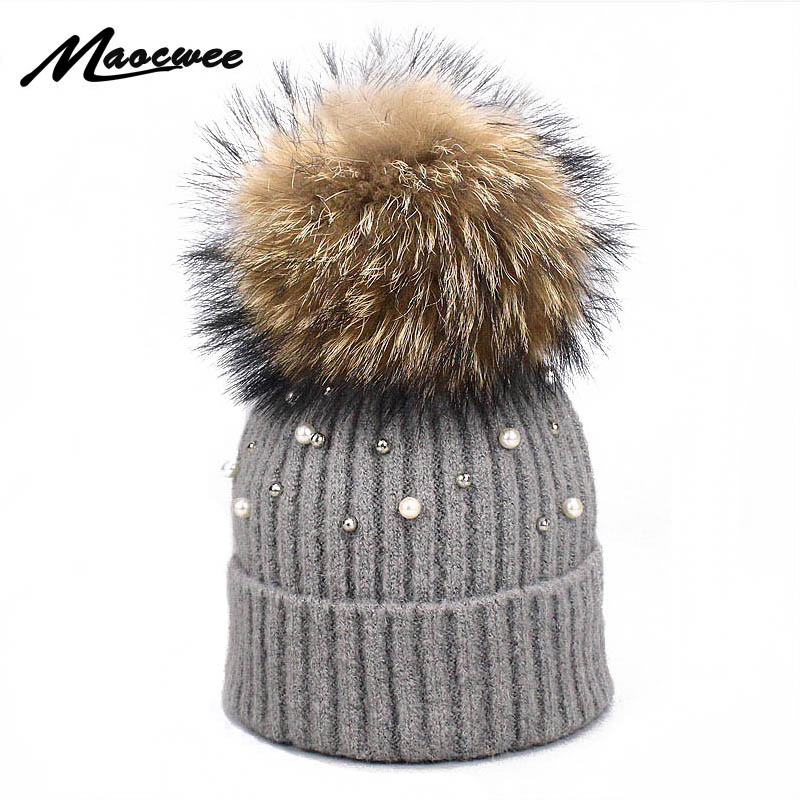 Women Winter Pearl Beanies Hats With Natural Raccoon Fur Pompon Knitted Crochet Soft Cap Elasticity Warm Female Fur Pompom Hat