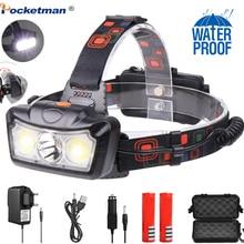 6000LM LED Headlamp T6+COB LED Headlight Head Lamp Flashlight Torch Lanterna head light Use 2*18650 battery for Camping