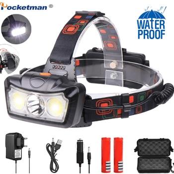 6000LM LED Headlamp T6+COB LED Headlight Head Lamp Flashlight Torch Lanterna head light Use 2*18650 battery for Camping 6000lm led headlamp t6 cob led headlight head lamp flashlight torch lanterna head light use 2 18650 battery for camping