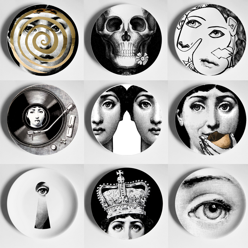 Fornasetti Decorative Plate Hanging Ceramic Craft Home Furnishing Wall Decorative Dish Italy Style Background Painting Adornment
