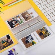 Álbum de fotos transparente, 160 bolso, 3 anéis de foto para polaróide fujifilm instax quadrado sq20 sq10 sq6 SP-3, película instantânea da câmera livro livro