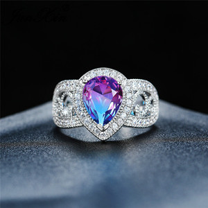 Женское Обручальное кольцо с жемчугом, Цирконом, мистическим радужным огнем, кристаллом, розовым, синим, зеленым