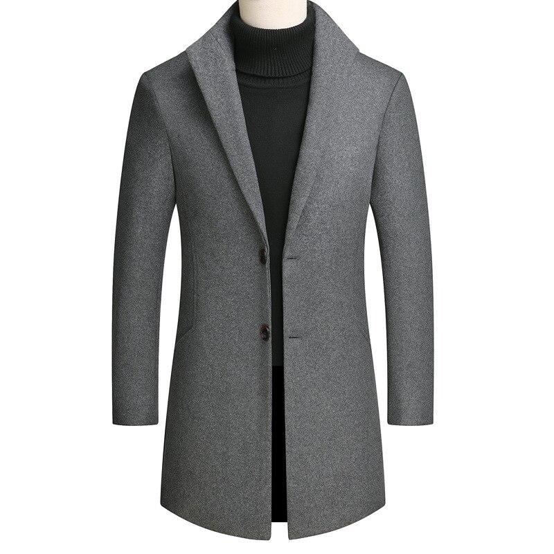 Young Mens Wool Coat Long Grey Wine Red Men mens coats  wool overcoat long coat