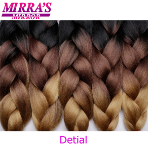 "Image 4 - Mirras Mirror 5Pcs 3 Tone Ombre Jumbo Braids Hair For Braiding Brown Synthetic Hair Extensions Ombre Crochet Hair 24"" 100g"