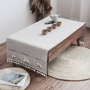 50x150/60x160/70x160/70x190cm grey/linen color tablecloth living room simple table cloth cover cabinet cover for coffee table