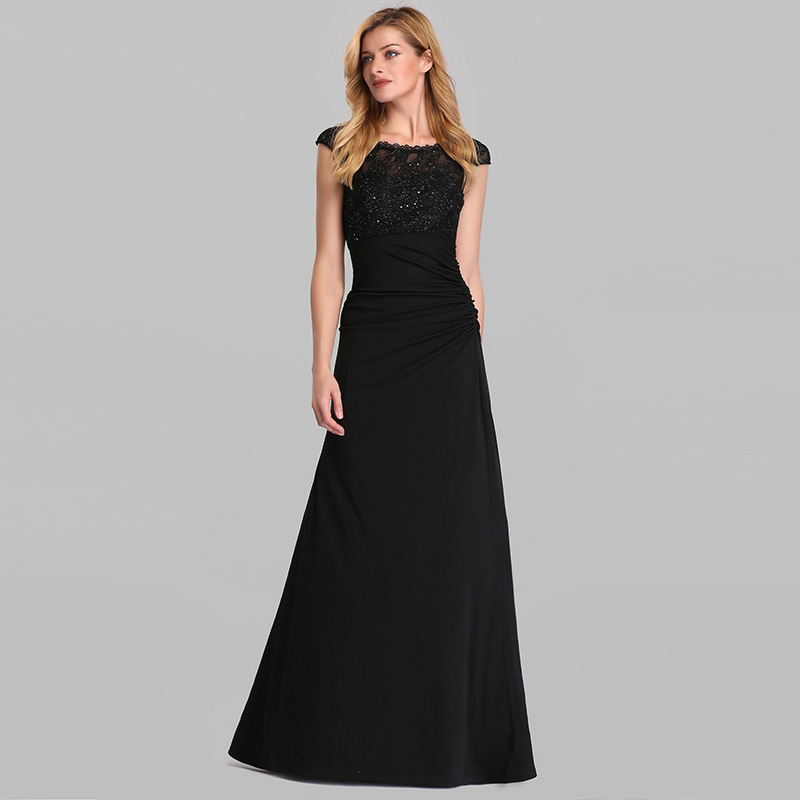 OLLYMURS New <font><b>Elegant</b></font> Woman Evening Gown Autumn Lace Stitching Round Neck Small Fishtail <font><b>Black</b></font> Long Evening <font><b>Dress</b></font> image