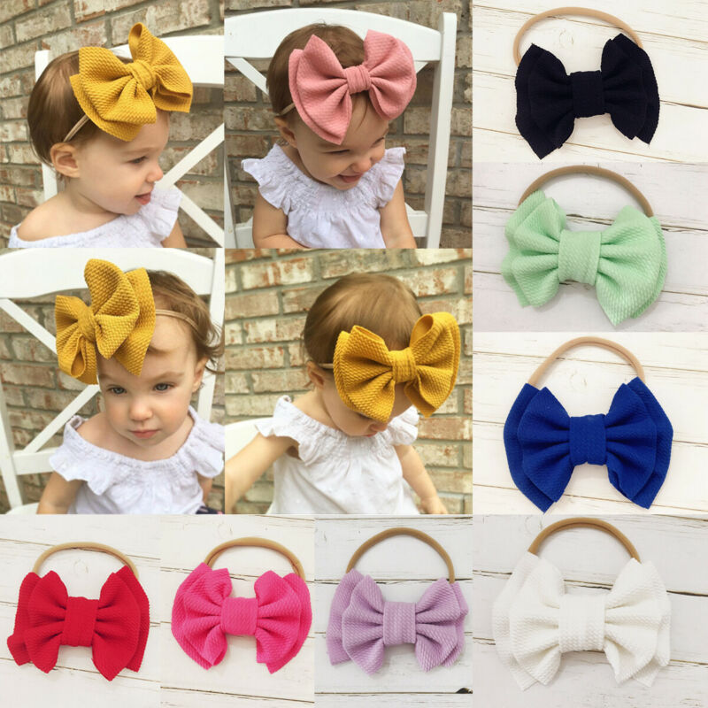 2019 New Big Bows Headband For Girls Solid Large Hair Bows Elastic Turban Head Wraps Baby Kids Top Knot Hairband