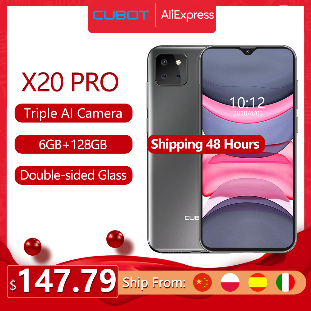 "Cubot X20 Pro 6GB+128GB AI Mode Triple Camera Smartphone 6.3"" FHD+Waterdrop Screen Android 9.0 Face ID Cellura Helio P60 4000mAh(China)"