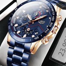 Mens Watches Chronograph Stainless-Steel Top-Brand Luxury Sports New-Fashion LIGE Relogio