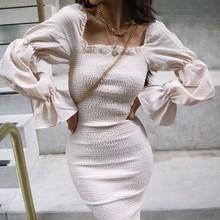 Fashion Women Off Shoulder Long Sleeve Solid Color Sexy Slim Party Dress Mini Dress   8.15 trendy off the shoulder pure color mini dress for women
