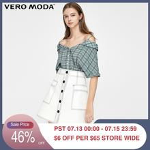 Vero Moda Women's 100% Cotton Off-the-shoulder V-neckline Short-sleeved Plaid Shirt