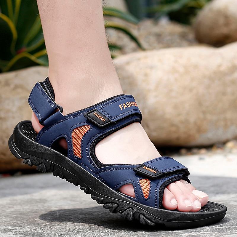 Размеры 13 мужские летние туфли; Большие размеры 2021 новые сандалии с открытым носком Мужская Уличная дышащая удобная обувь из черной кожи с открытым носком пляжная обувь, сандалии Сандалии    АлиЭкспресс