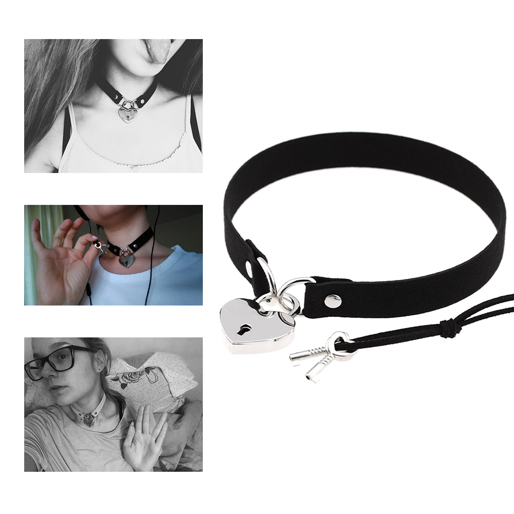 Simple Punk Style Cosplay Costume Collar Sex Appeal Bondage Peach Heart Love Lock Neck Chain Neck Strap Collarbone Necklace