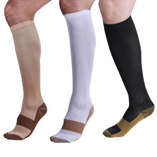 1 Pair Unisex Copper Compression Socks Women Men Anti Fatigue Pain Relief 15-20 MmHg Graduated Knee High Stockings
