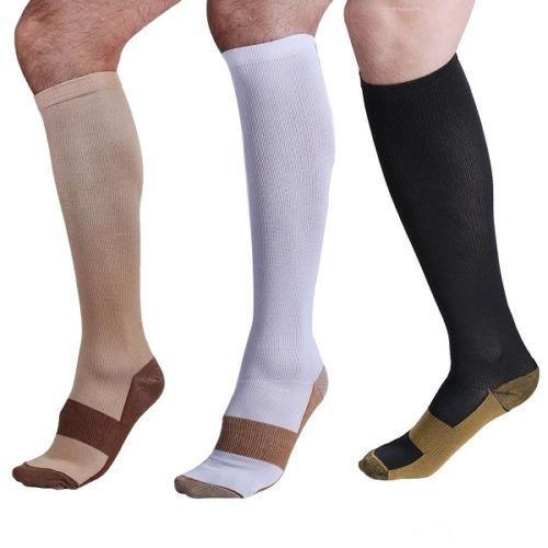 1 Pair Unisex Copper Compression Socks Women Men Anti Fatigue Pain Relief 15-20 MmHg Graduated Knee High Stockings