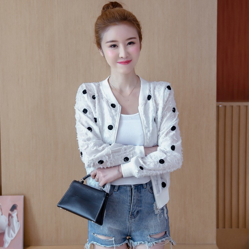 2019 Korean Slim Baseball Short Jacket Summer Casual White Thin Women's Bomber Jacket Polka Dot Dot Sunscreen Cardigan Jacket 37