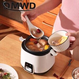 Image 4 - Dmwd 1.2L Mini Elektrische Rijstkoker 2 Lagen Verwarming Voedsel Stoomboot Multifunctionele Maaltijd Koken Pot 1 2 Mensen Lunch doos Eu Us Plug